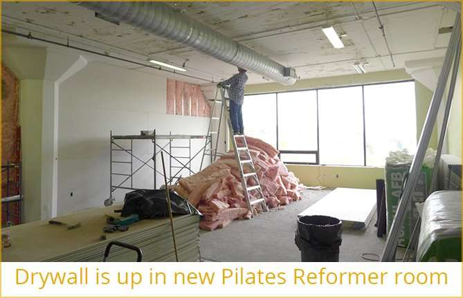 Drywall is up in new Pilates Reformer room