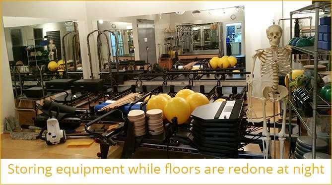 Storing equipment while floors are being redone