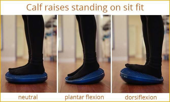 Calf raises standing on Sit Fit cushion