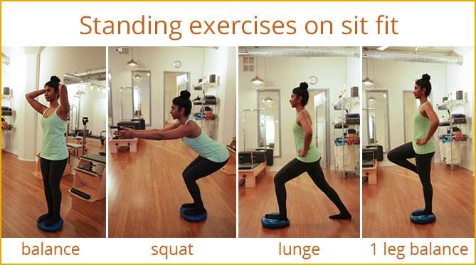 Standing exercises on sit fit