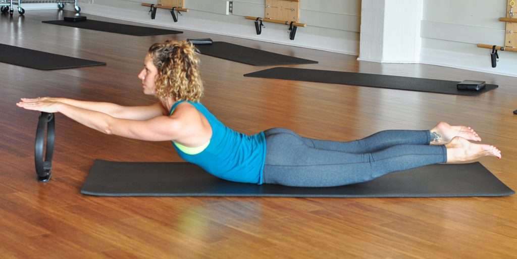 Prone swan with Pilates ring